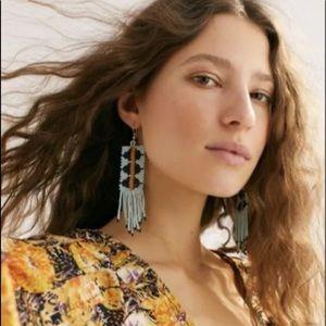Free People Hanging Earrings Geo Bead Seed Fringe